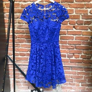 """Ted Baker """"Caree"""" Blue Lace Fit-and-Flare Dress"""